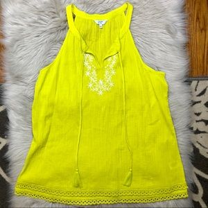 crown & ivy chartreuse gauze embroidered tank L